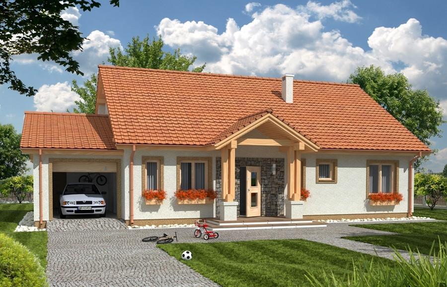 Zdjęcie dla projektu : ANITA wersja A z pojedynczym garażem paliwo stałe